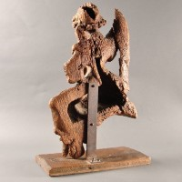 Michel Lourdel French oak Angel sculpture from Normandy