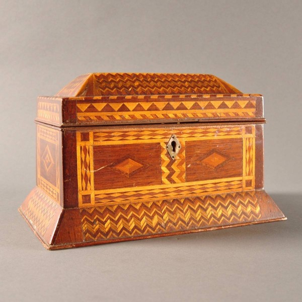 Antique Russian Marquetry Jewelry Box