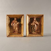 Two Baroque Reliefs of female Saints