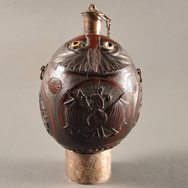 Dutch Carved Coconut Flask | De Grande Decorative Objects