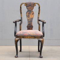 English Black lacquer armchair | De Grande Antique Furniture
