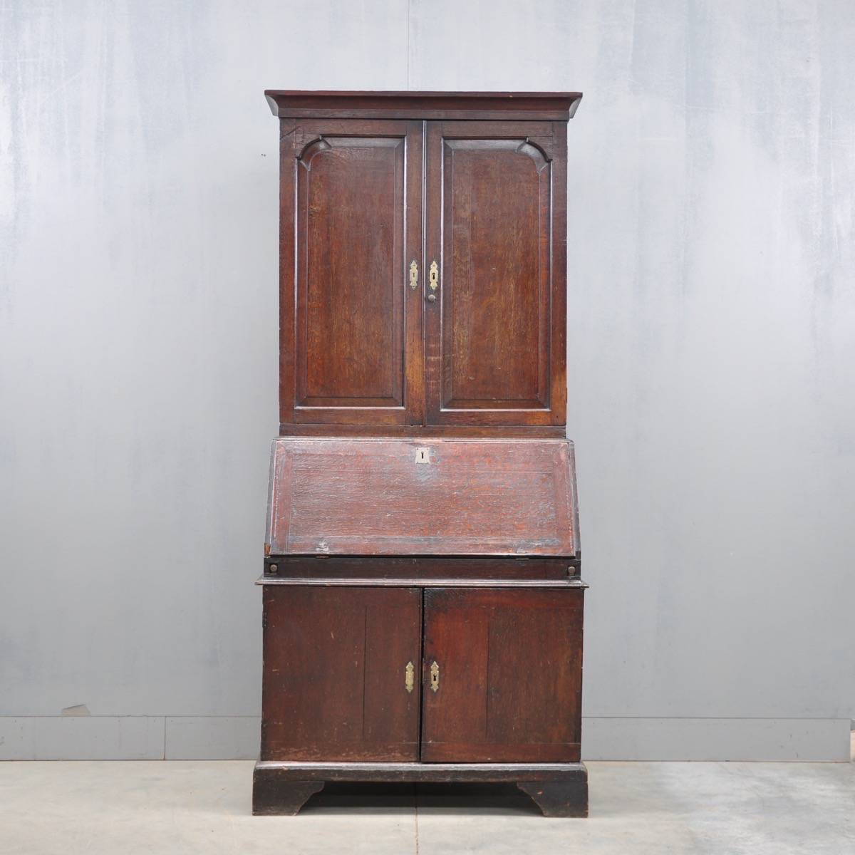 English Oak Bureau Bookcase De Grande Antique Furniture