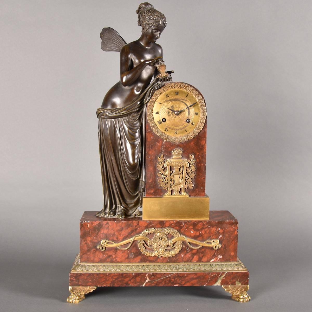 French Marble Mantel Clock With Bronze Figure De Grande