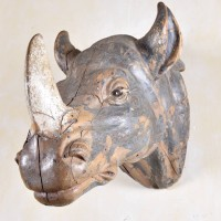 Antique Trophy of a rhinoceros head | De Grande Early Objects