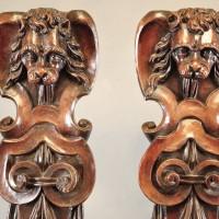 Walnut Caryatids with Lion Head | De Grande Fine Arts and Haute époque