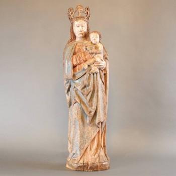Crowned Madonna and Child | De Grande Haute époque Sculptures
