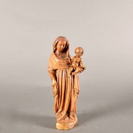 Haute époque Flemish Boxwood Madonna and Child | Paul De Grande Early Objects