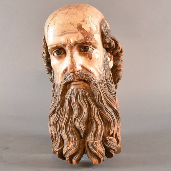 Head of a bearded saint | De Grande Early Sculptures
