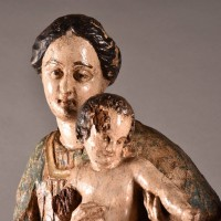 Carved of wood Virgin Mary, Christ Child and Saint Anne | Haute époque