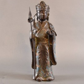 Standing Bronze cloisonne goddess sculpture | De Grande Asian Antiques Bronze