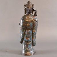 Standing Bronze cloisonne goddess sculpture | De Grande Asian Antiques Bronze