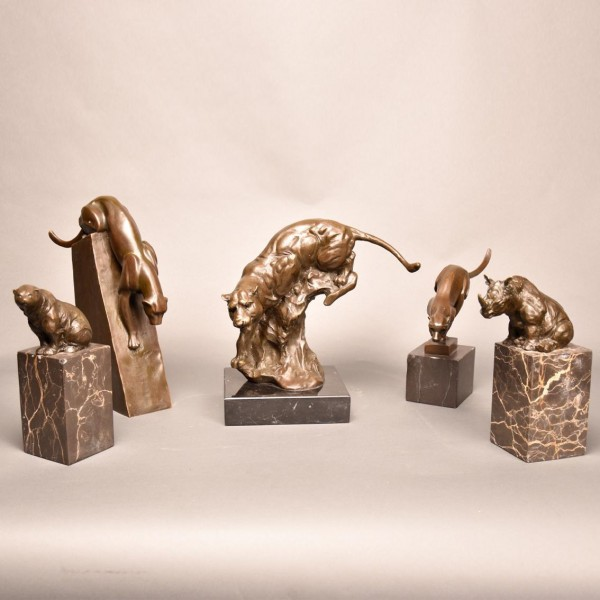 Set of 5 animalier bronzes | De Grande Fine Bronze Sculptures