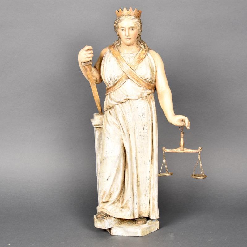 Lady Justice De Grande Antique Wooden Sculptures