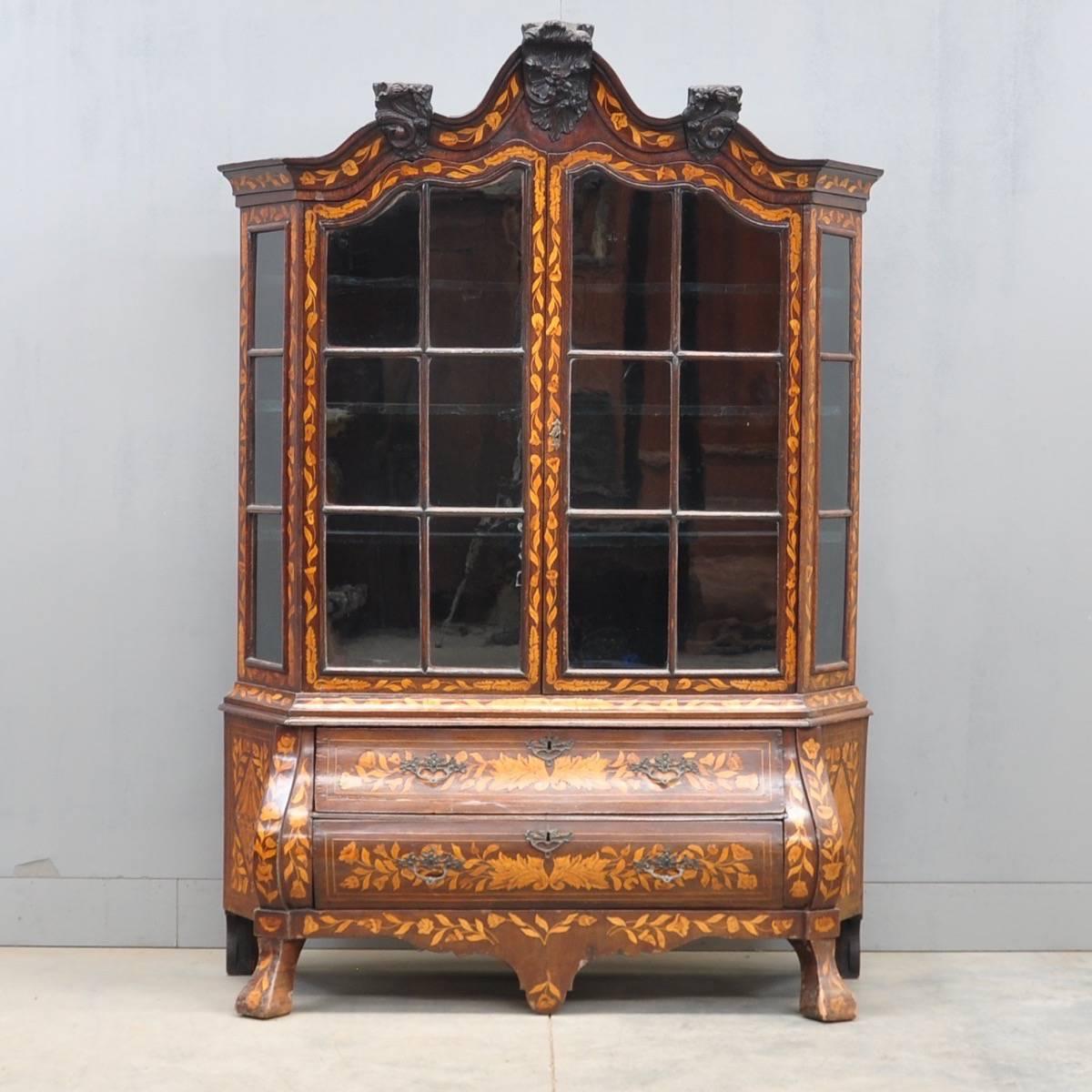 Dutch Marquetry Vitrine De Grande Antique Furniture