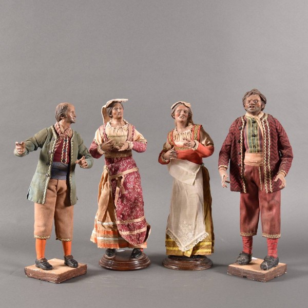 Antique Four neapolitain creche figures | De Grande Early Decorative