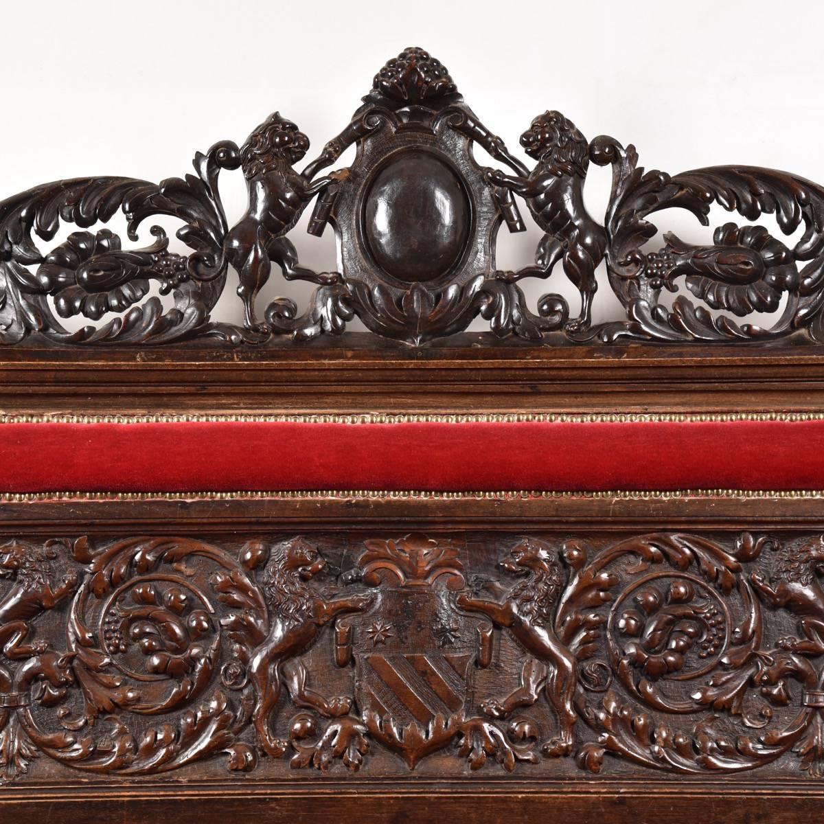 Walnut carved bench de grande antique furniture
