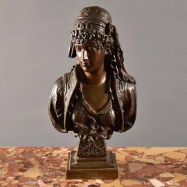 French Bronze bust of a girl | De Grande Bronze Fine Art