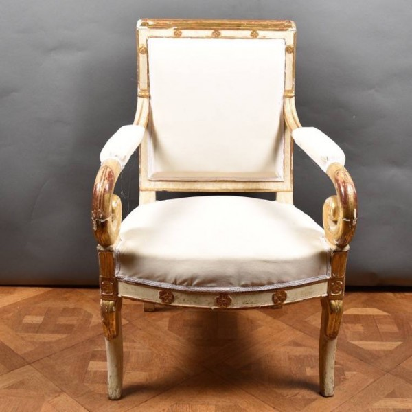 French Polychromed Armchair | De Grande French Antique Furniture