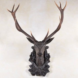 Antique Oak Carved Deer Head with hunting trophy antlers