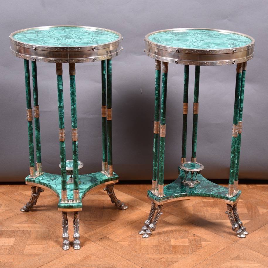 Malachite And Silver Tables De Grande Antique Furniture