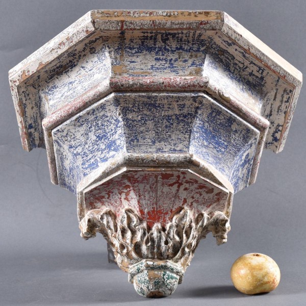 Early Antique Wall Console polychrome wood