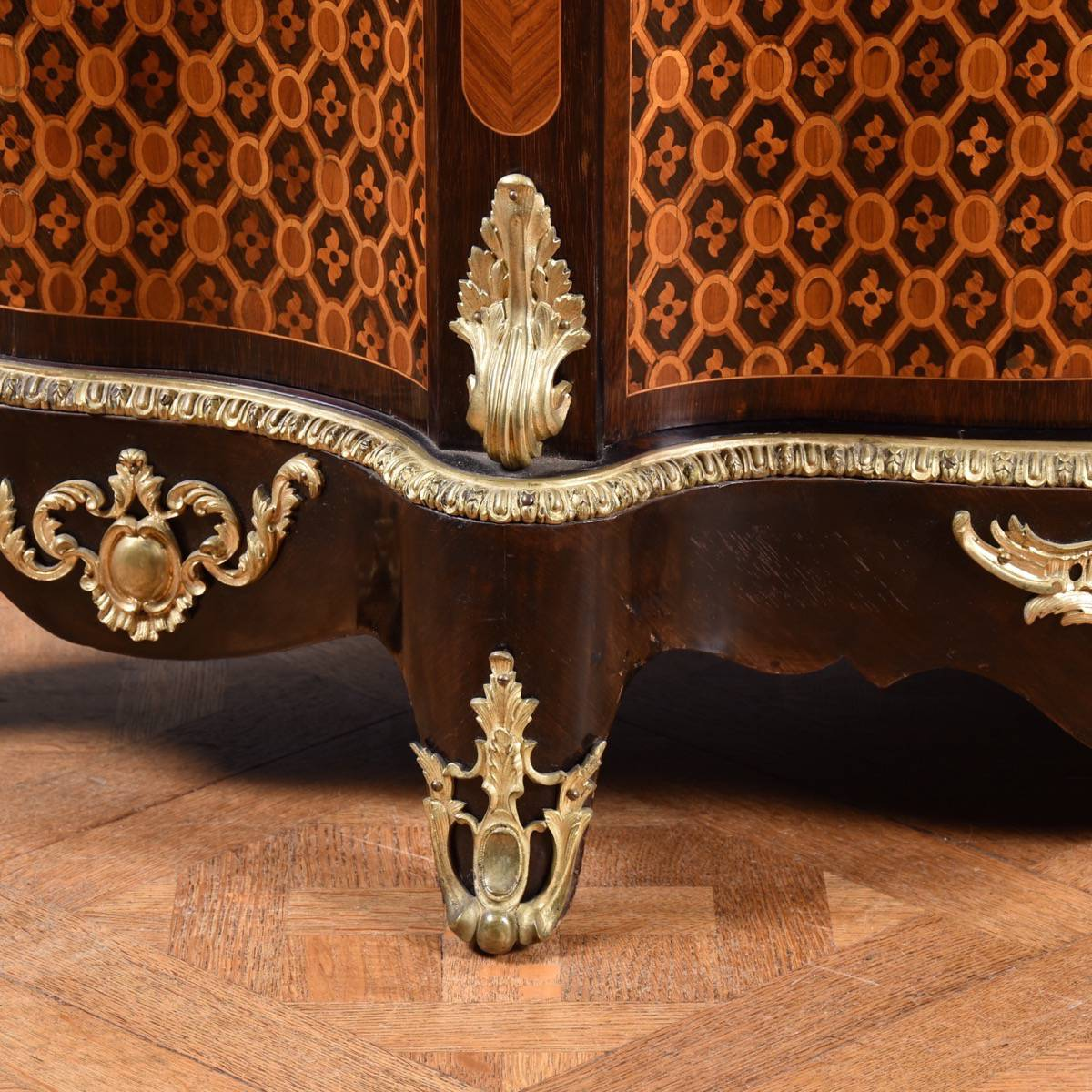 French Marquetry Inlaid Cabinet De Grande Antique Furniture
