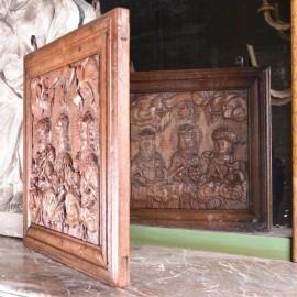 haute epoque Oak Signboard carved in one Single piece