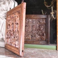 haute epoque Oak Signboard carved in one Single piece