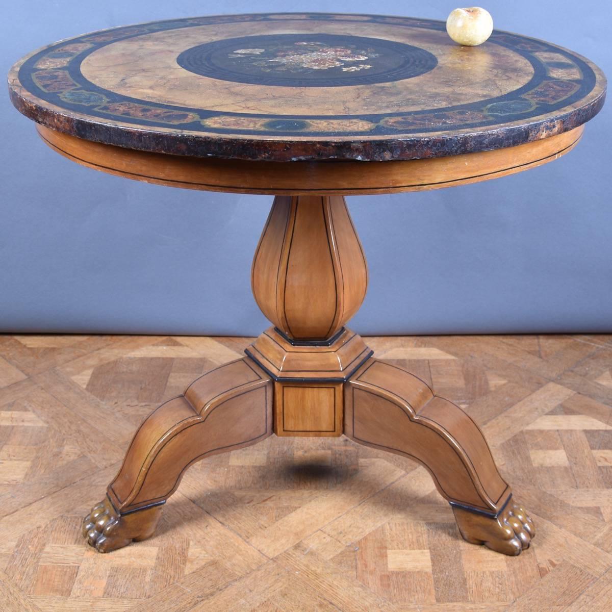 Charmant Italian Table With Scagliola Top | De Grande Antique Italian Furniture