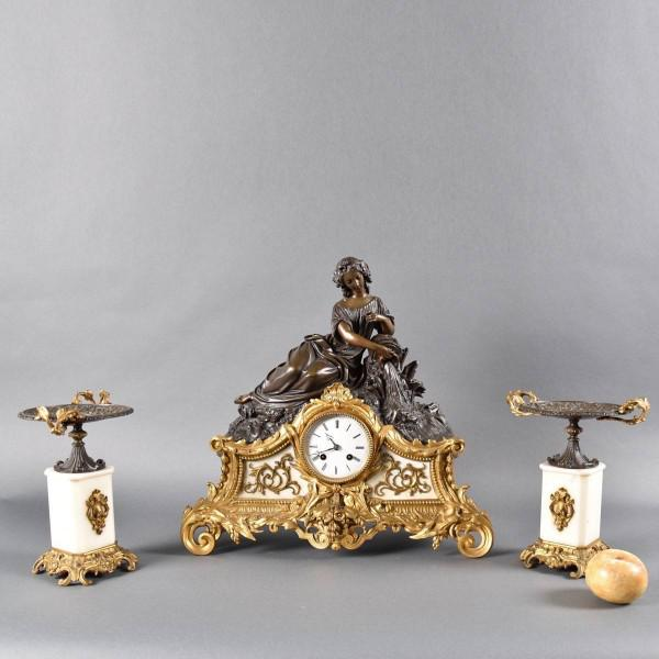 Marble and Bronze French Clock Set | De Grande Antique French Clock Set