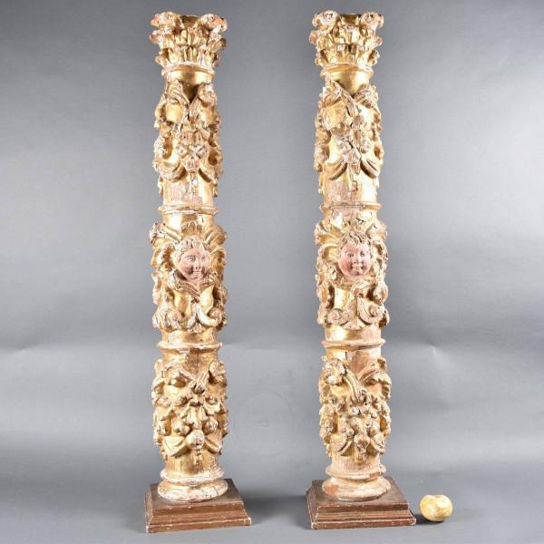 Pair of Baroque Columns | De Grande Antique Furniture