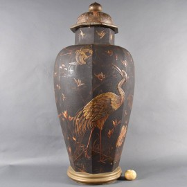 Tall Lacquered Vase, Floral, Boats and Birds decorated. 19th Century.