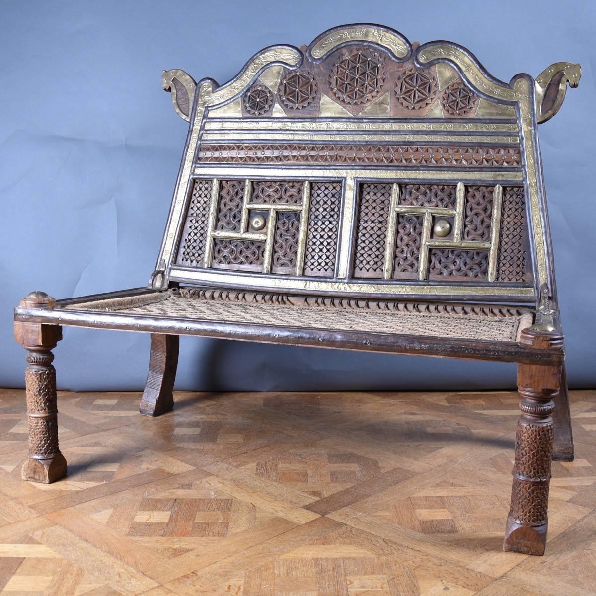 Indian Rope Bench Vintage Antique Furniture
