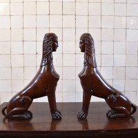 Carved Hardwood Sphinxes