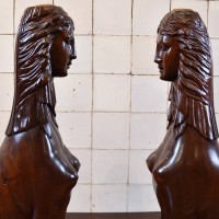 Hardwood pair of Sphinxes