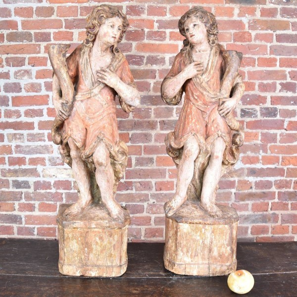 Pair of Ladies Carved wood figures