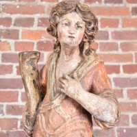 Antique carved wood figure of a lady