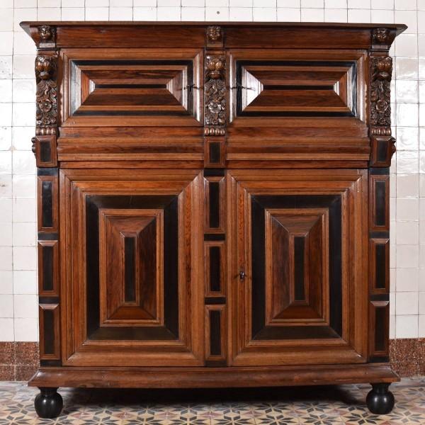 Dutch Oak, Ebony and Rosewood Cupboard