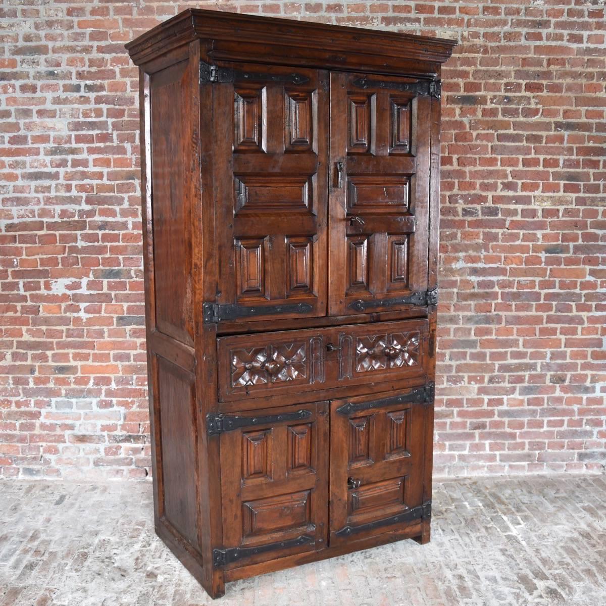 South European Walnut 4 Door Cabinet