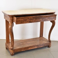 Flamed Walnut Console with Marble Top