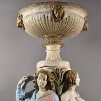 Terracotta garden Urn with lion heads