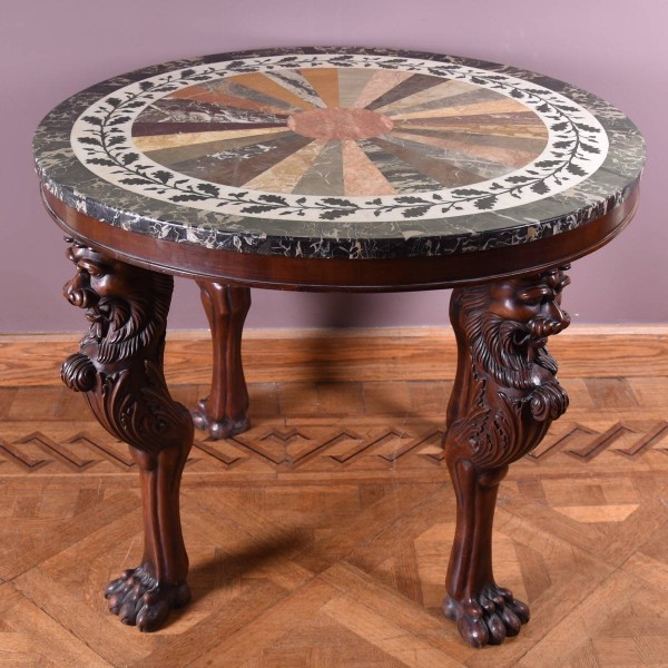 antique mahogany inlaid marble gueridon