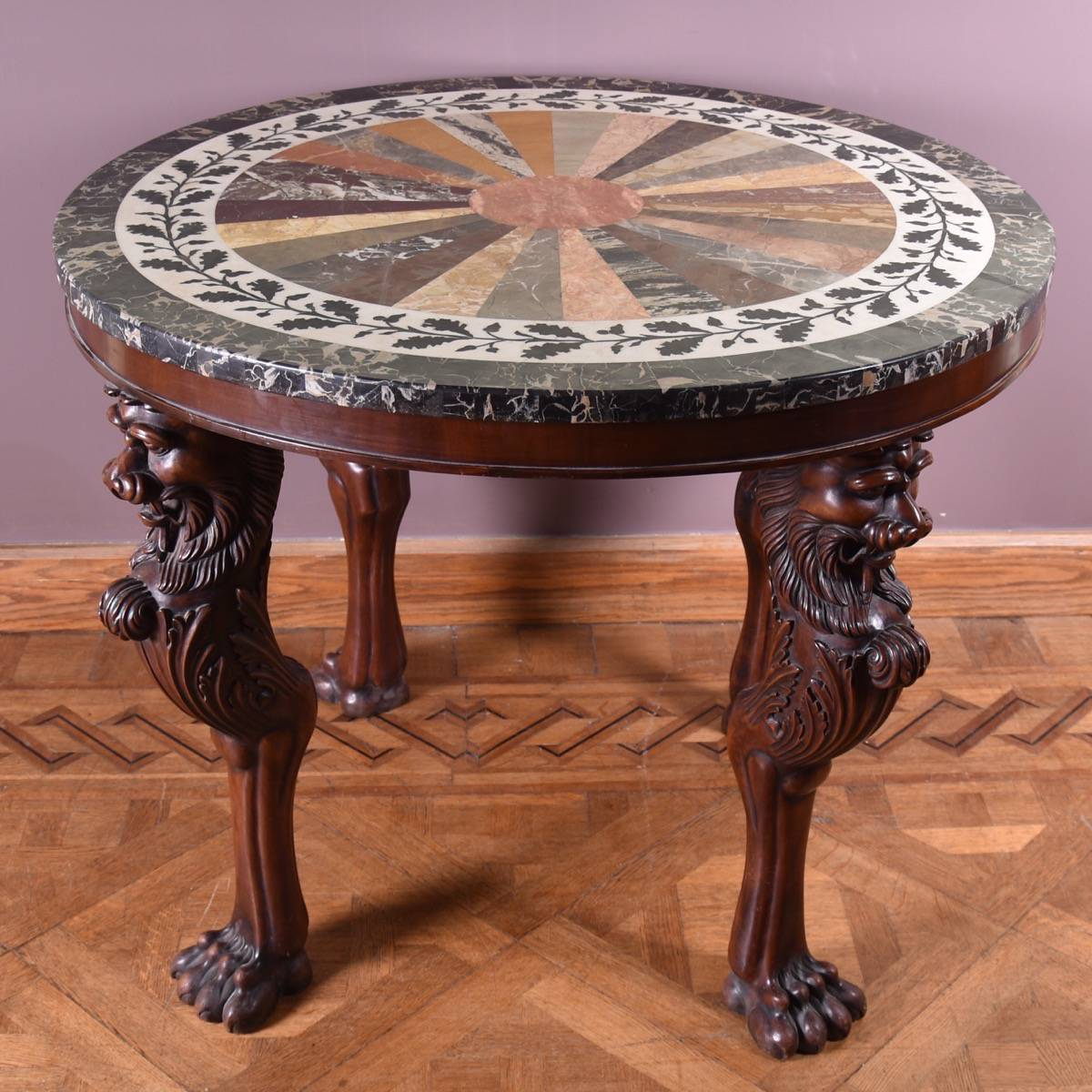 Antique Inlaid Marble Table : Antique mahogany inlaid marble gueridon