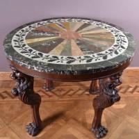 mahogany inlaid marble gueridon