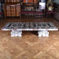 antique marble plateau inlaid piuetra dura