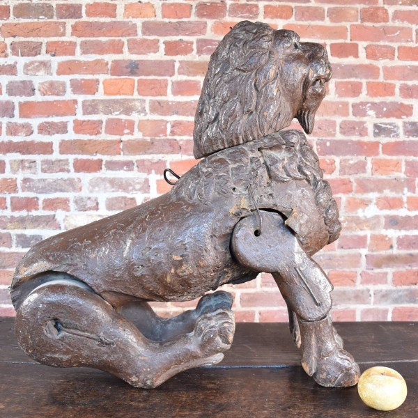 Carved Wood Articulated Lion