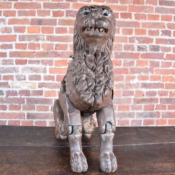 Carved Wood Articulated Lion 19th Century