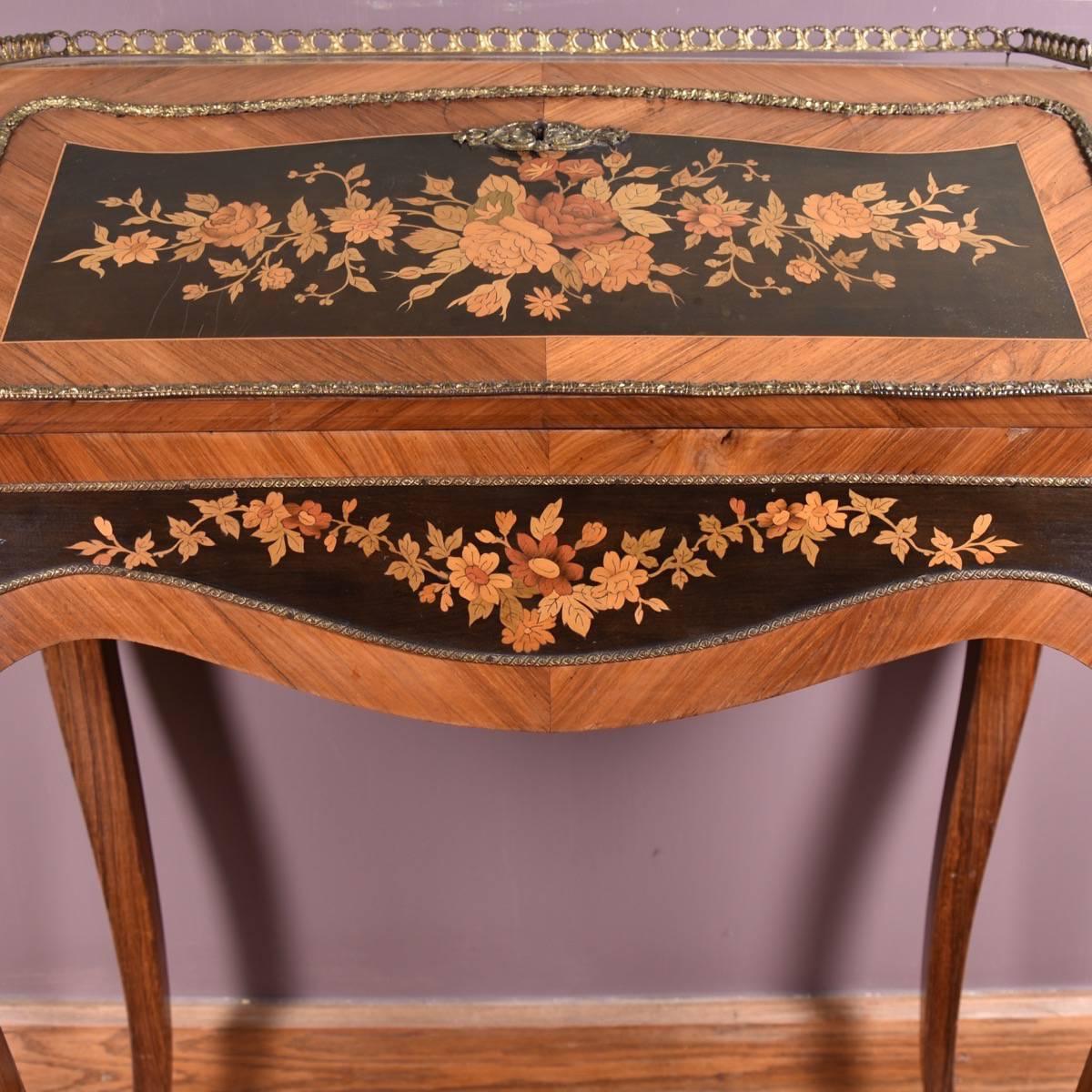Elegant Antique French Marquetry Bureau