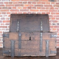 Early oak Coffer with original ironwork