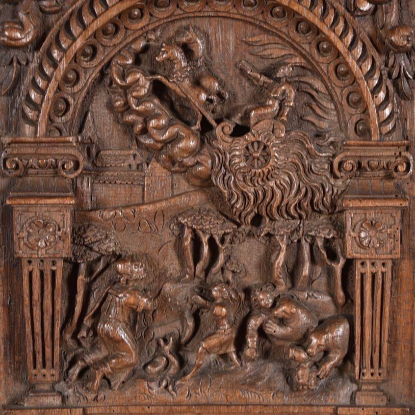 Flemish or dutch carved oak relief